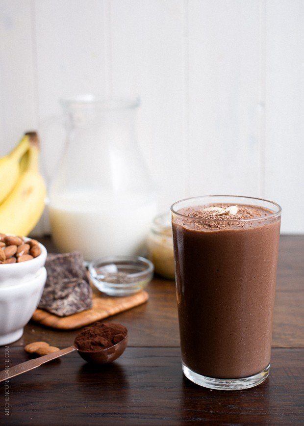 Dark Chocolate Almond Butter Smoothie | www.kitchenconfidante.com | This recipe for Dark Chocolate Almond Butter Smoothie is creamy, dreamy and tastes like a rich milkshake, but it's good for you and perfect after a workout!