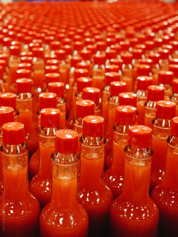 Bottles of Tabasco at the factory.