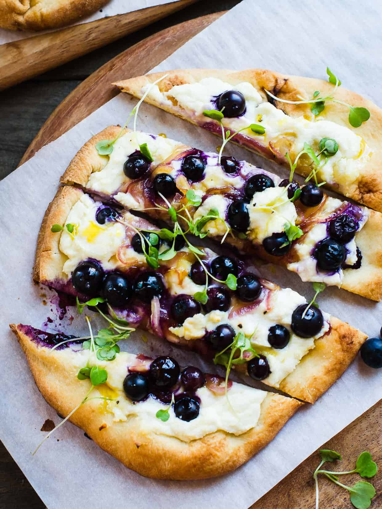 Blueberry, Feta and Honey-Caramelized Onion Naan Pizza ...
