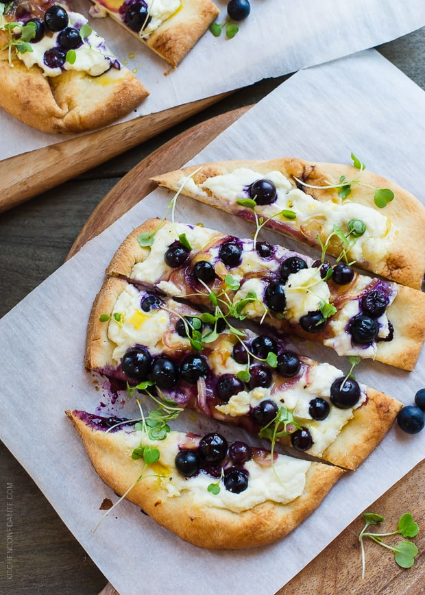 Blueberry, Feta and Honey-Caramelized Onion Naan Pizza | www.kitchenconfidante.com | A savory pizza that will surely surprise your tastebuds!