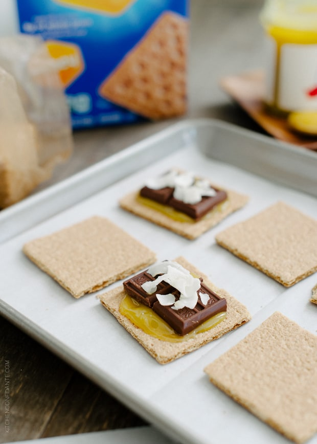 Coconut Jam Berry S'mores | www.kitchenconfidante.com | Tropical flavors come through in these summer classic!