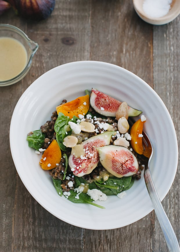 Fig and Apricot Summer Lentil Salad | www.kitchenconfidante.com | Nutrient rich lentils dressed in a light vinaigrette pair with some of my favorite summer fruits in a hearty salad.