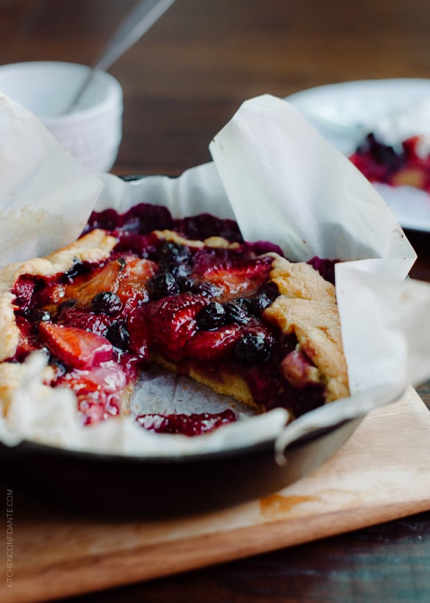 Mixed Berry Cornmeal Galette | www.kitchenconfidante.com | When summer is here, galettes are a sweet staple.