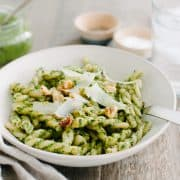 Swiss Chard Walnut Pesto Pasta | www.kitchenconfidante.com | A jar of pesto transforms into a simple lunch with pasta and leftover shredded chicken!