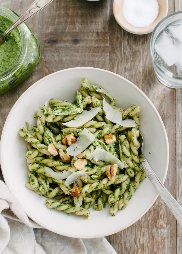 Swiss Chard Walnut Pesto Pasta | www.kitchenconfidante.com | A simple ...