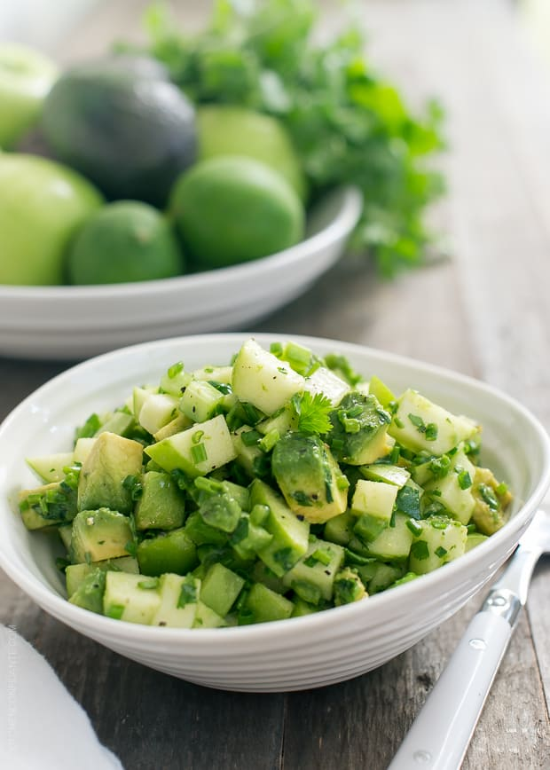Green Apple Salsa Verde | www.kitchenconfidante.com | Tangy green apples add a delicious twist to salsa. It's perfect with grilled meats in the summer!