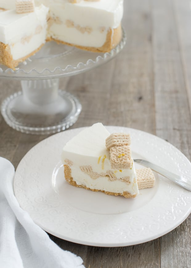 No-Churn Cheesecake Ice Cream Cake | www.kitchenconfidante.com | A simple icebox cake, made with homemade no-churn ice cream!