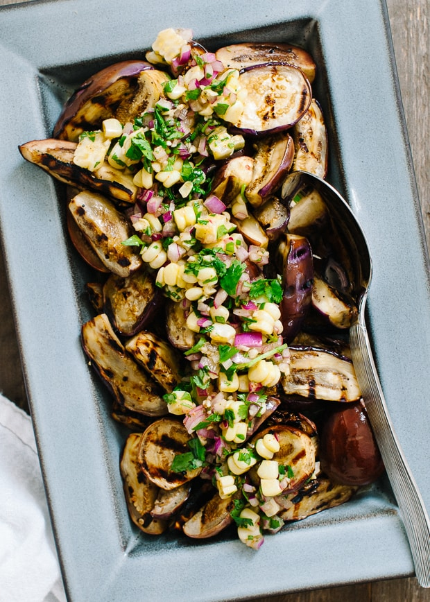 Grilled Eggplant with Corn Chimichurri | www.kitchenconfidante.com