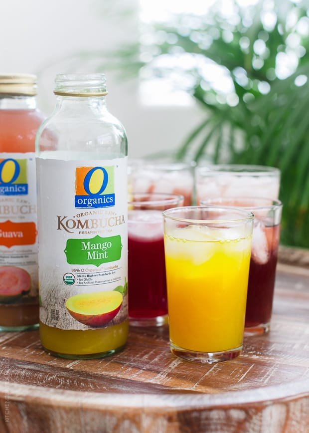 O Organics Kombucha | www.kitchenconfidante.com | Mango Mint is one of six new flavors.