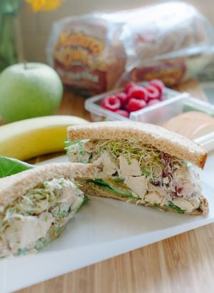 Green Apple Chicken Salad (Mayo Free)| www.kitchenconfidante.com | Lunch time is sweeter with this better for you chicken salad - it's crunchy and sweet!