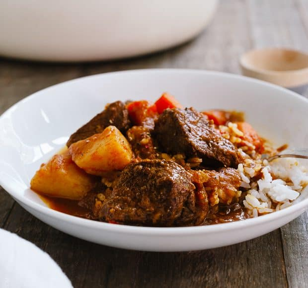 Mechado - Filipino Beef Stew | www.kitchenconfidante.com | Comfort food at its best. Tender beef, hearty potatoes and vegetables in a tomato based stew.