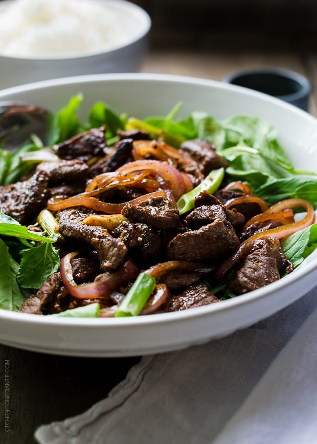 Shaking Beef | www.kitchenconfidante.com | This tasty Vietnamese style stir-fry is simple and perfect for busy weeknight meals.