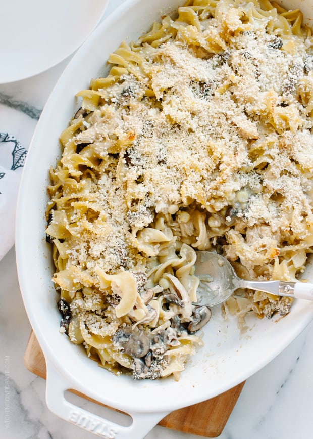 Chicken Mushroom and Corn Tetrazzini | www.kitchenconfidante.com | Use roast chicken in this creamy casserole.