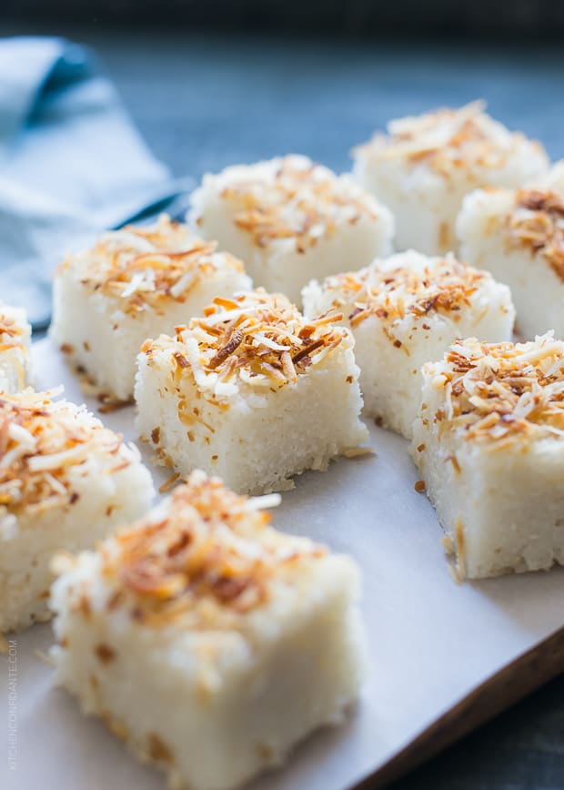 Coconut Rice Cakes | www.kitchenconfidante.com | This simple recipe is layers of sweet coconut goodness.