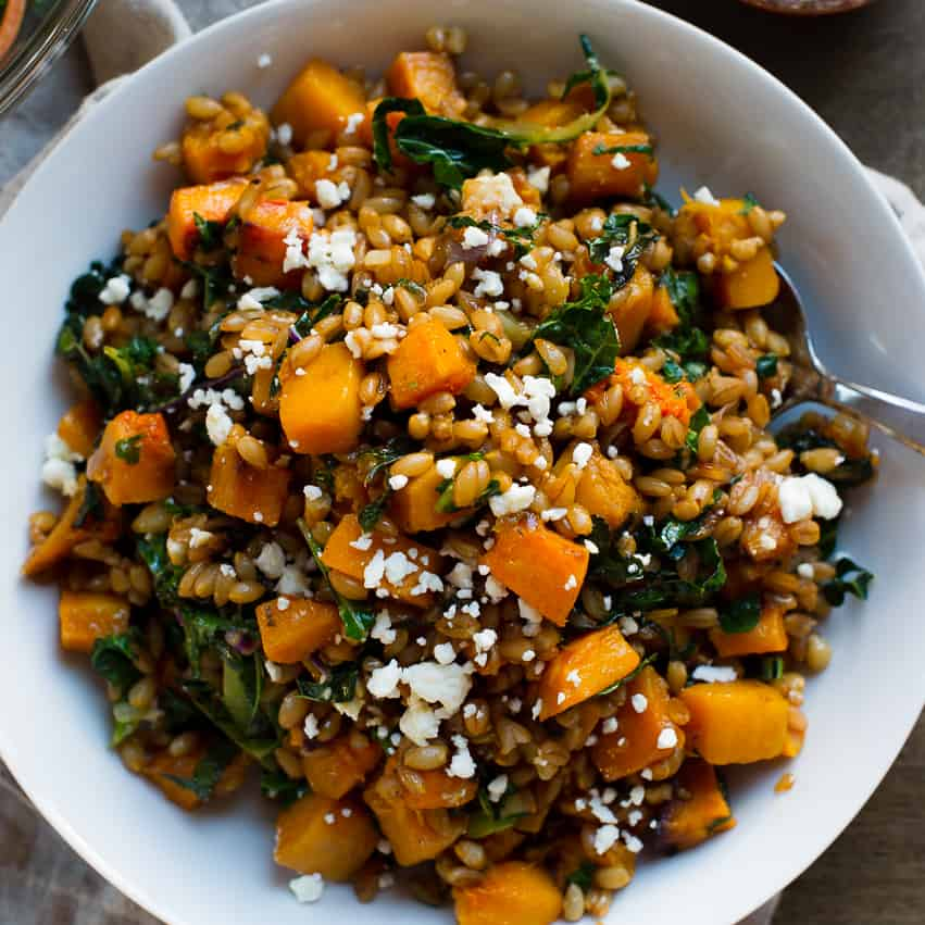 Roasted Butternut Squash Winter Salad with Kale, Farro and Cranberry ...