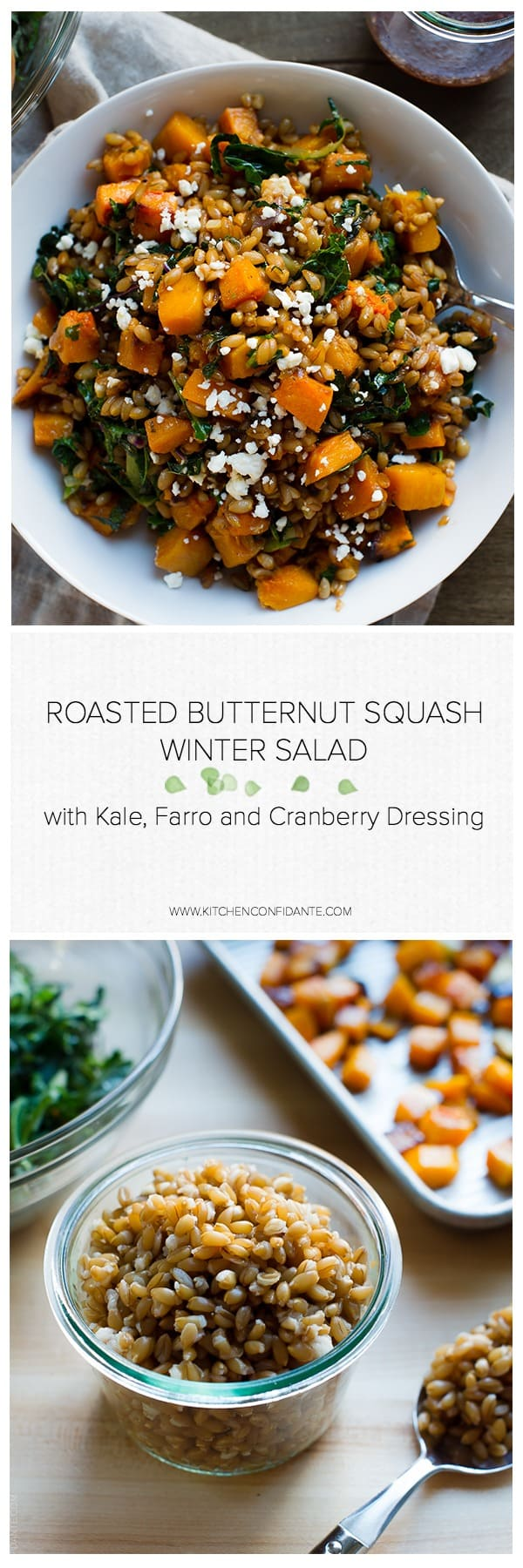 This warm Roasted Butternut Squash Winter Salad with Kale, Farro and Cranberry Dressing is a wholesome and comforting dish - perfect with Thanksgiving turkey, as a side for a delicious winter meal, or as a wholesome lunch on its own.
