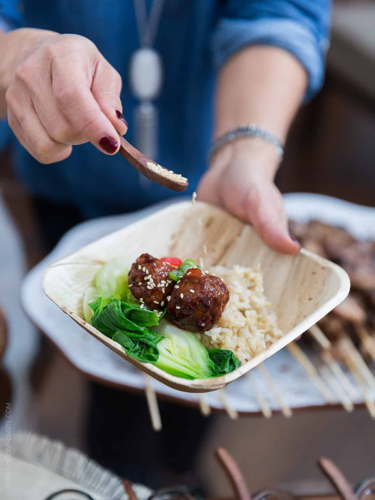 Shake things up at your next big game party with Big Game Bowl Recipes, including this Spicy Korean-style Meatball Bowl!