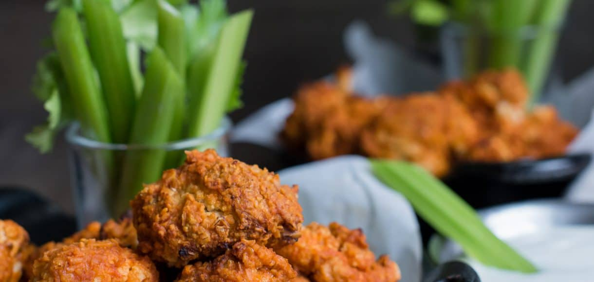 "Hummus Battered Buffalo Cauliflower ""Wings"" - you can have your spice and eat it too!"