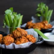 """Hummus Battered Buffalo Cauliflower """"Wings"""" - you can have your spice and eat it too!"""