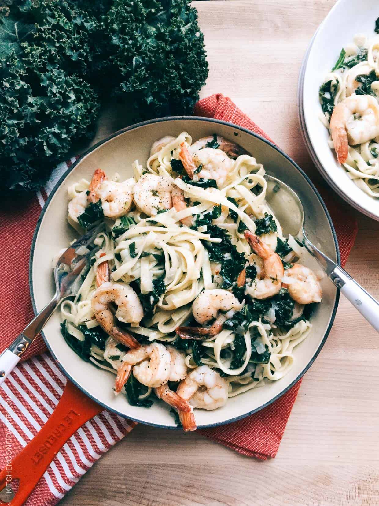 One dish recipes are weeknight heros. Try this recipe for Kale and Shrimp Scampi.