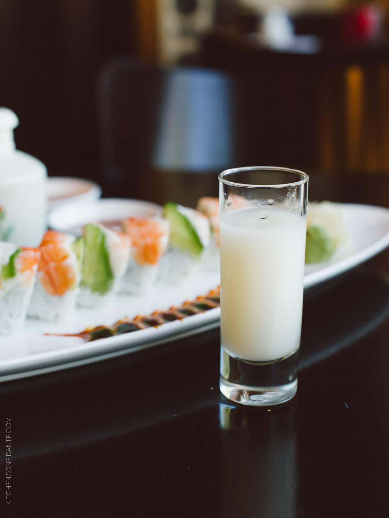 Sho Chiko Bai Nigori, a sake that was surprisingly  round and mellow, with notes of creamy coconut and fragrant melon.