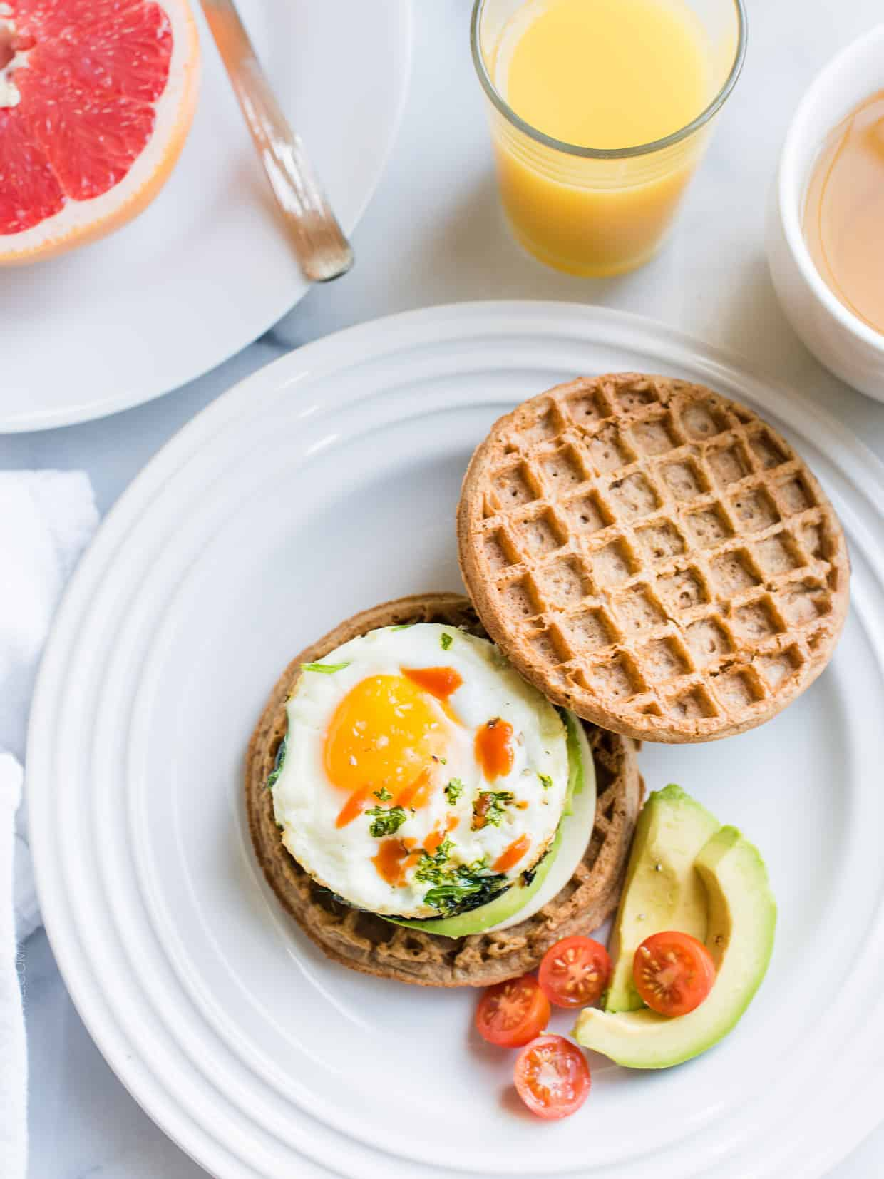 Fuel up for the day with a Waffle Breakfast Sandwich by making healthy eggs in the microwave. This easy recipe shows you how.