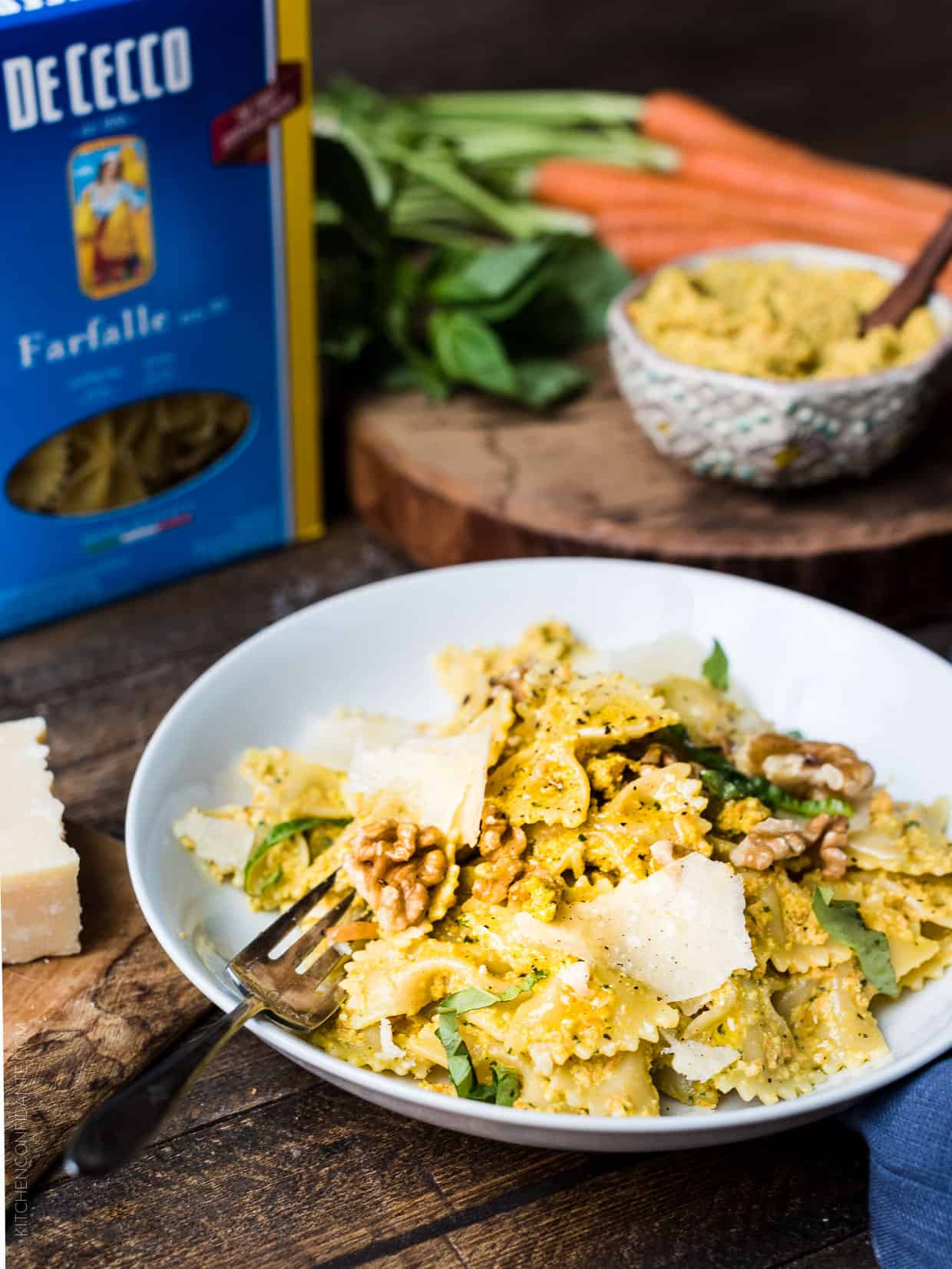 Orange pesto? Yes! You've got to try easy recipe for Farfalle with Roasted Carrot Pesto, Parmesan and Toasted Walnuts!
