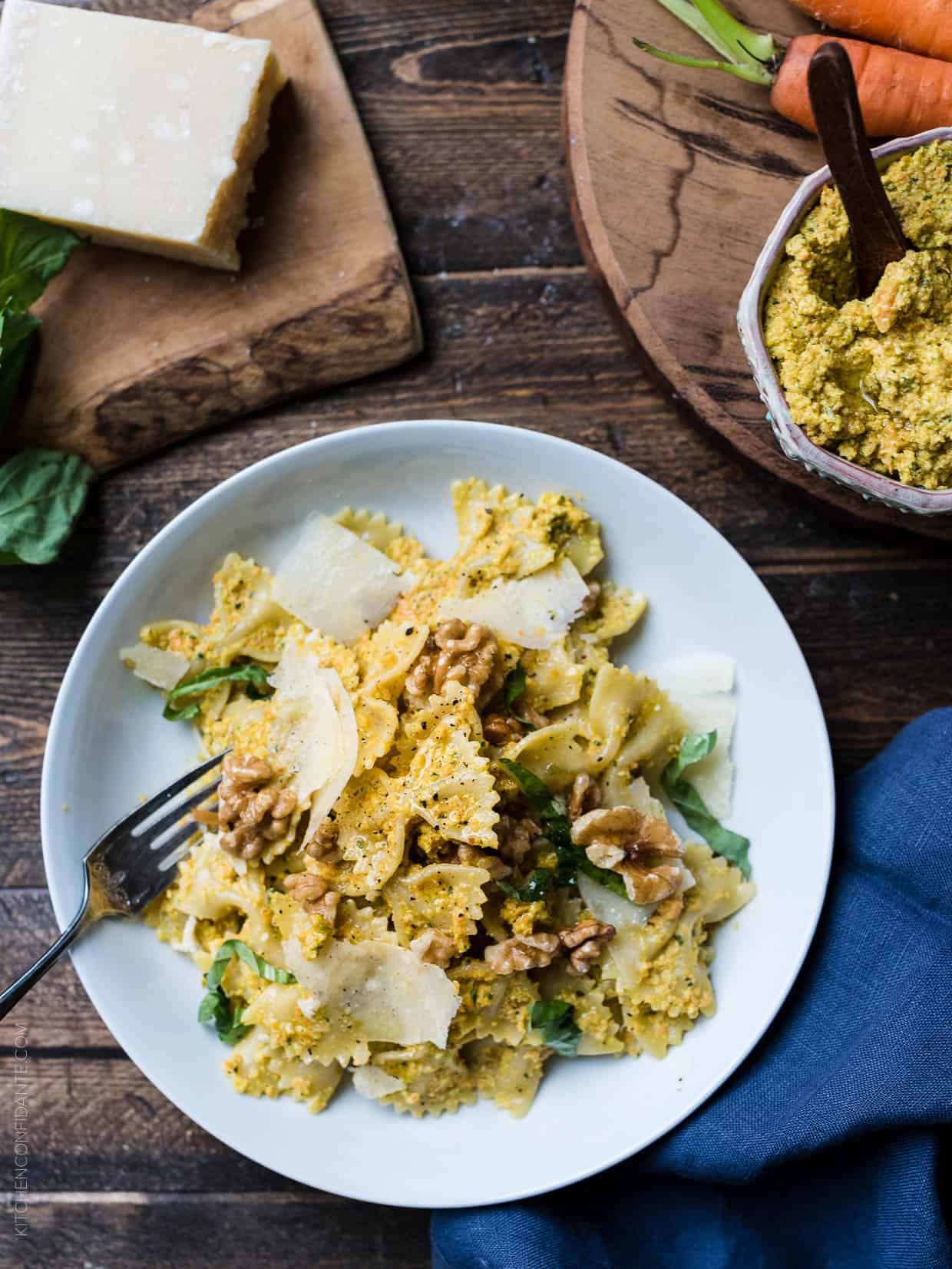 Farfalle with Roasted Carrot Pesto, Parmesan and Toasted Walnuts is a simple way to welcome warmer weather.
