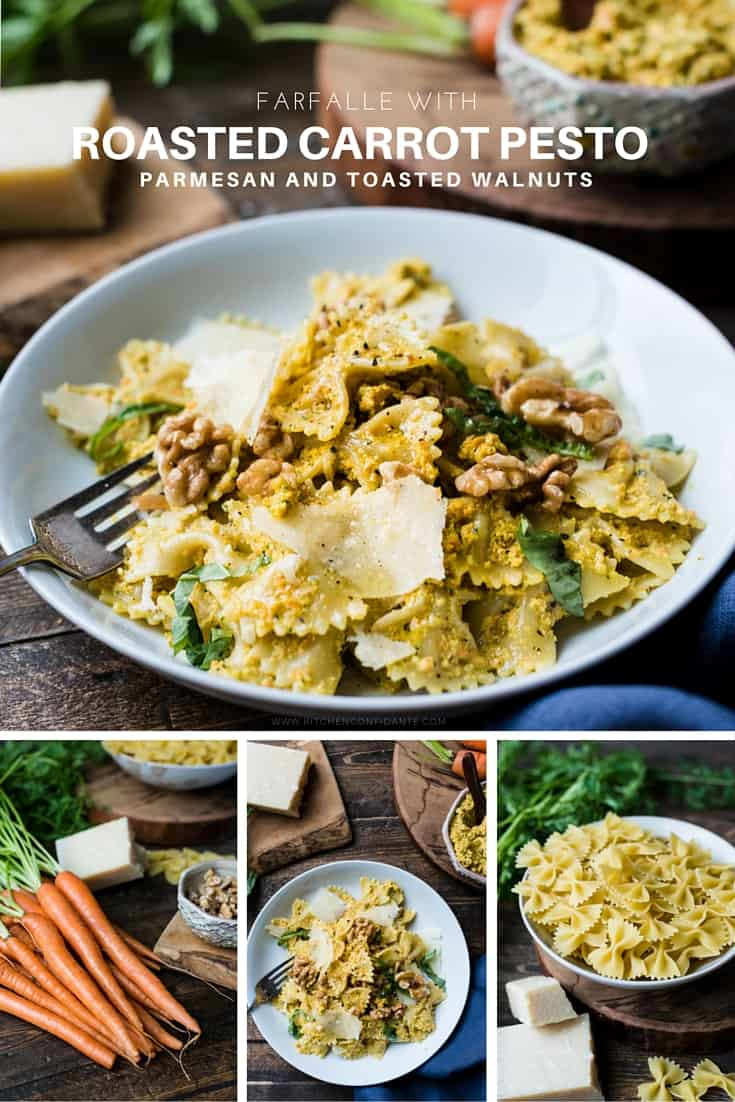 Pesto gets a twist in this easy recipe for Farfalle with Roasted Carrot Pesto, Parmesan and Toasted Walnuts!