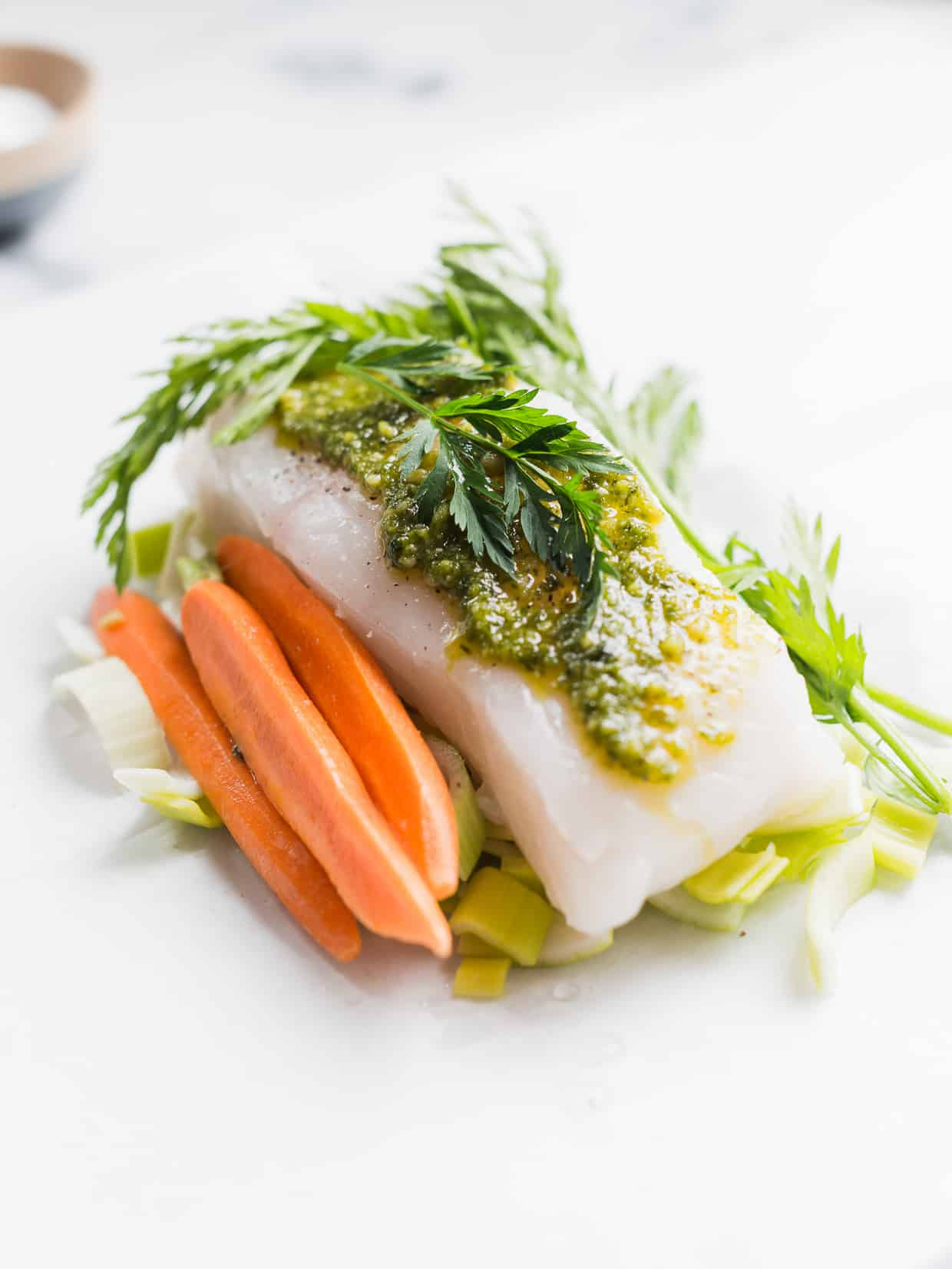 Halibut en Papillote with Carrot Top Pesto - so simple, from prep to clean up!