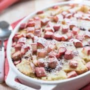 Looking for more ways to enjoy rhubarb? Try it in this decadent Rhubarb Bread Pudding!
