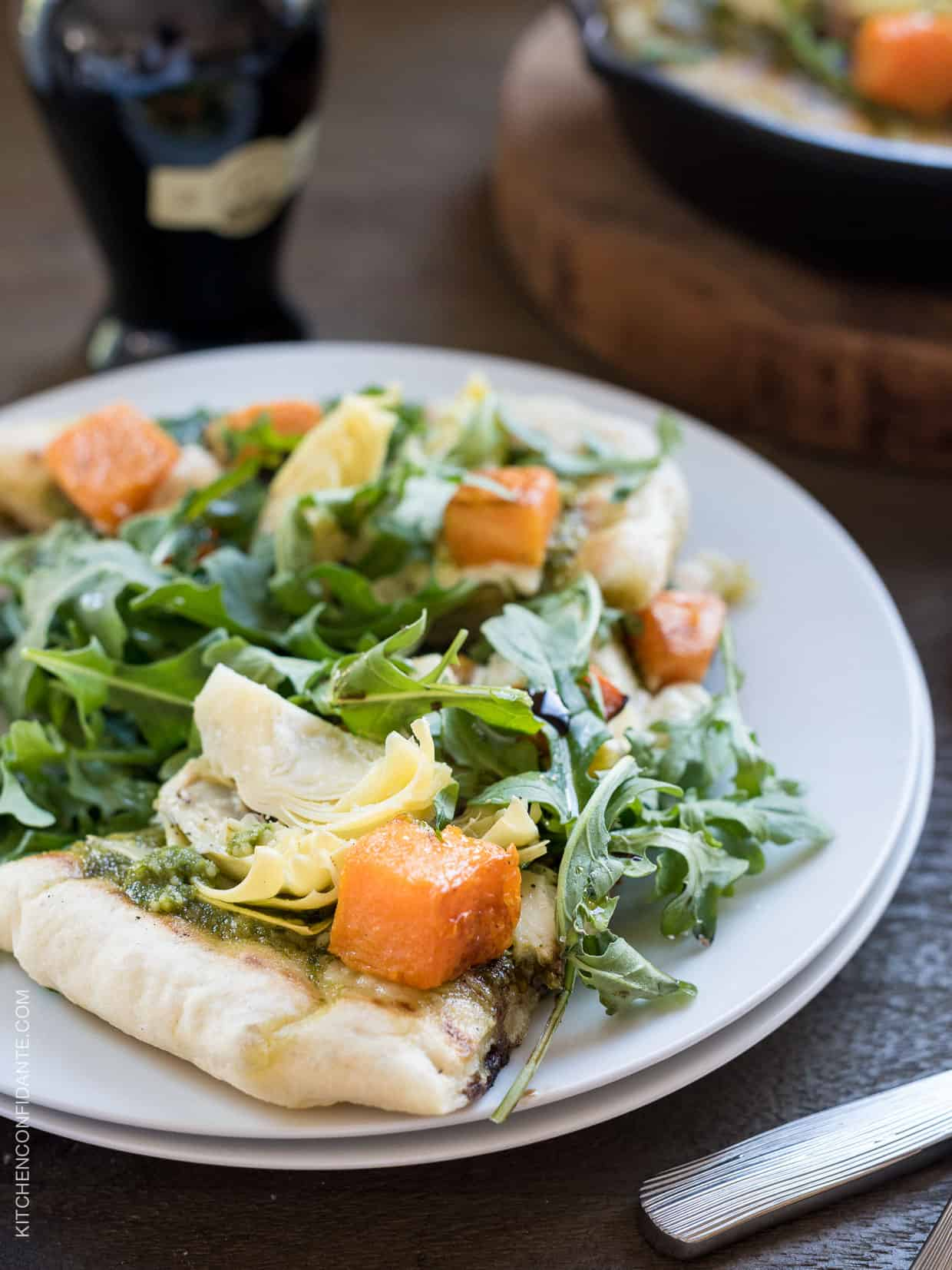 Skillet Pesto Flatbread with Goat Cheese, Artichokes and Roasted Butternut Squash - make it in minutes and without firing up the oven!