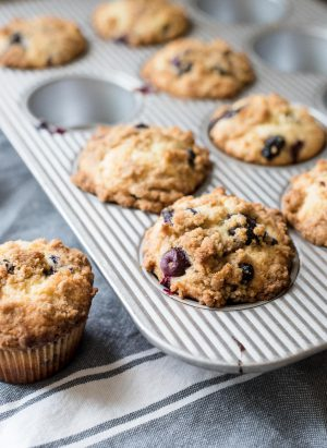 Bakery Style Buttermilk Blueberry Muffins - Save yourself a trip to the store - make these cake like muffins at home!