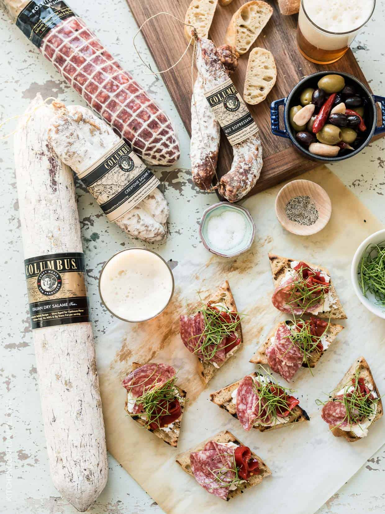 Beer Bread Bruschetta with Salami - summer ease, all washed down with craft beer!