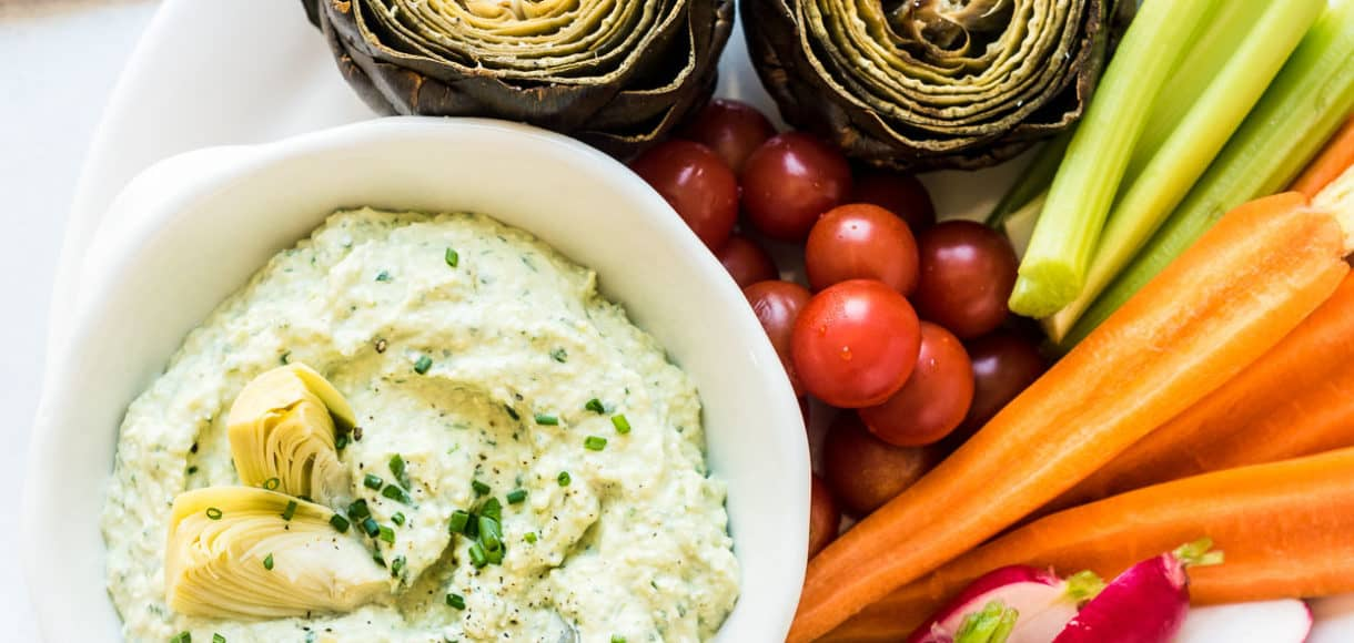 Artichoke and Avocado Dip -- If you love hot artichoke dip, you must try this. Think of it as it's fresher, cooler, healthier cousin. The avocado makes it creamy, the fresh artichoke no longer hides behind mayonnaise, and the tangy feta makes it perfect for dipping fresh veggies, roasted artichokes, or simple, crisp crackers!