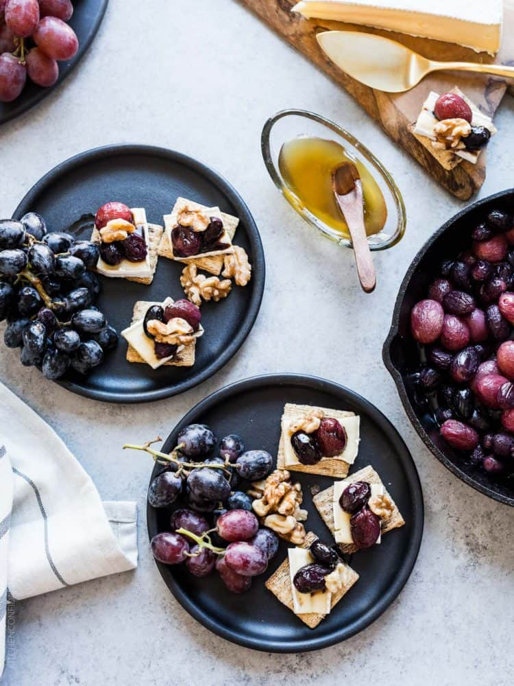 Caramelized Grape, Brie and Walnut Bites: Great things can come from simple things, like these tasty bites, perfect for snacking or your next party!
