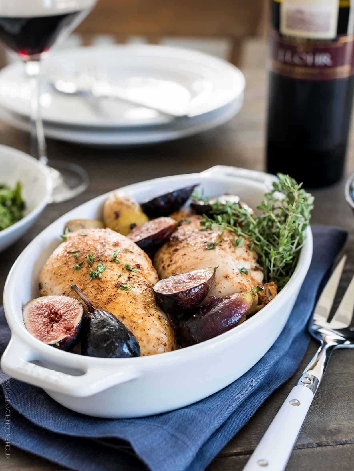 Roast Chicken with Fig Chutney Sauce is all about elevating simple ingredients into something special. Wine helps, too.