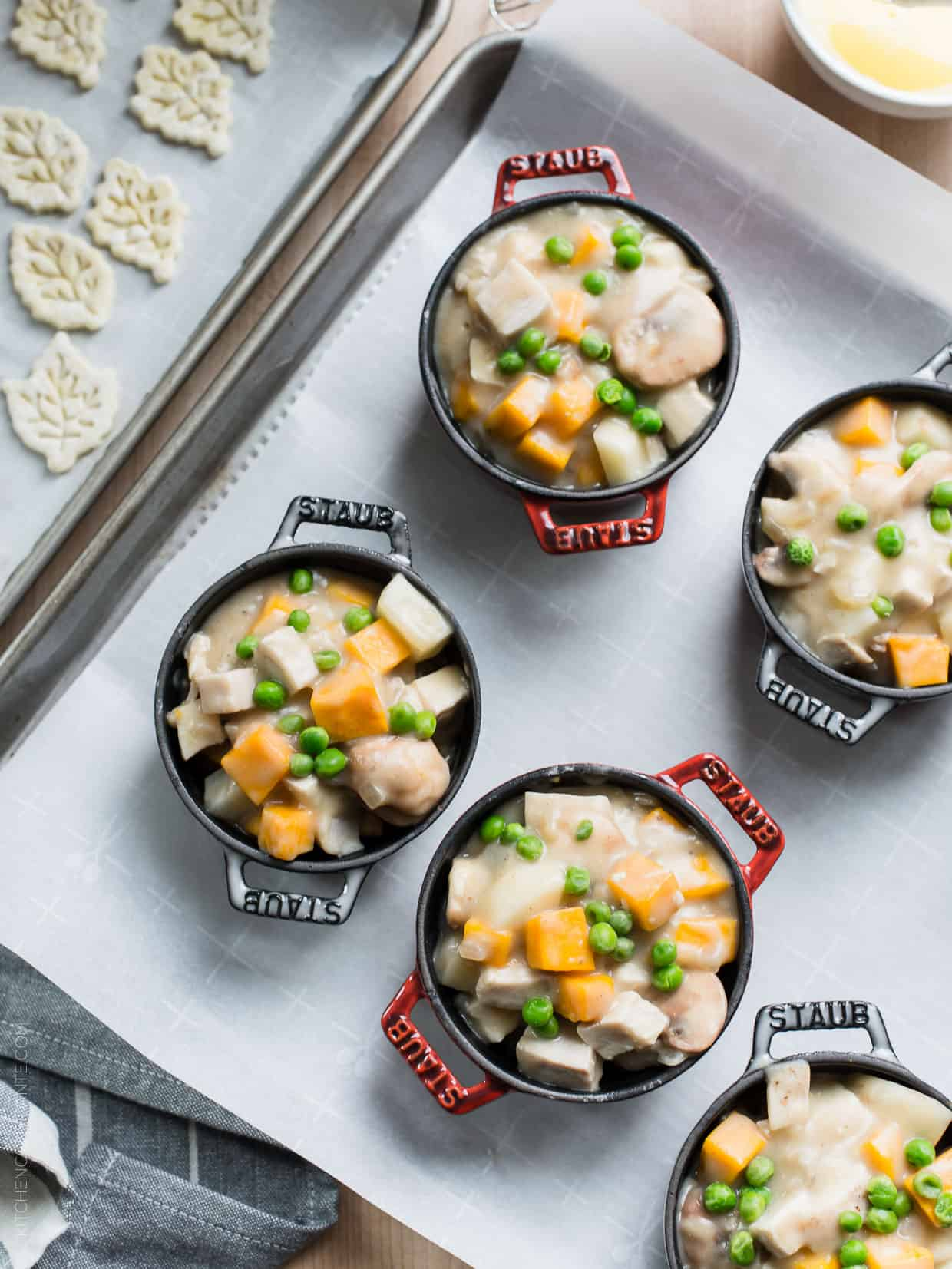 Turkey Pumpkin Pot Pie adds an extra helping of pumpkin season to comfort food. It's the perfect solution to leftover turkey, or as a substitute for the big bird itself at Thanksgiving. Or if you wish, make it with chicken, too!