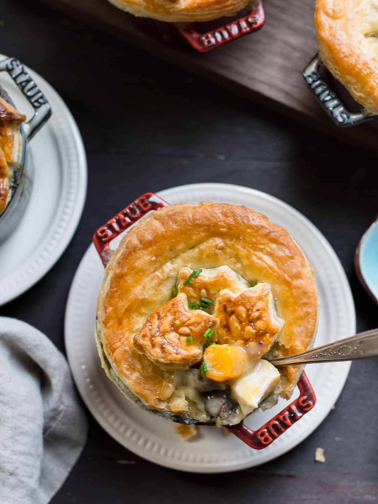 Turkey Pumpkin Pot Pie adds an extra helping of pumpkin season to comfort food. It's the perfect solution to leftover turkey, or a substitute for the big bird itself at Thanksgiving. Or if you wish, make it with chicken, too!