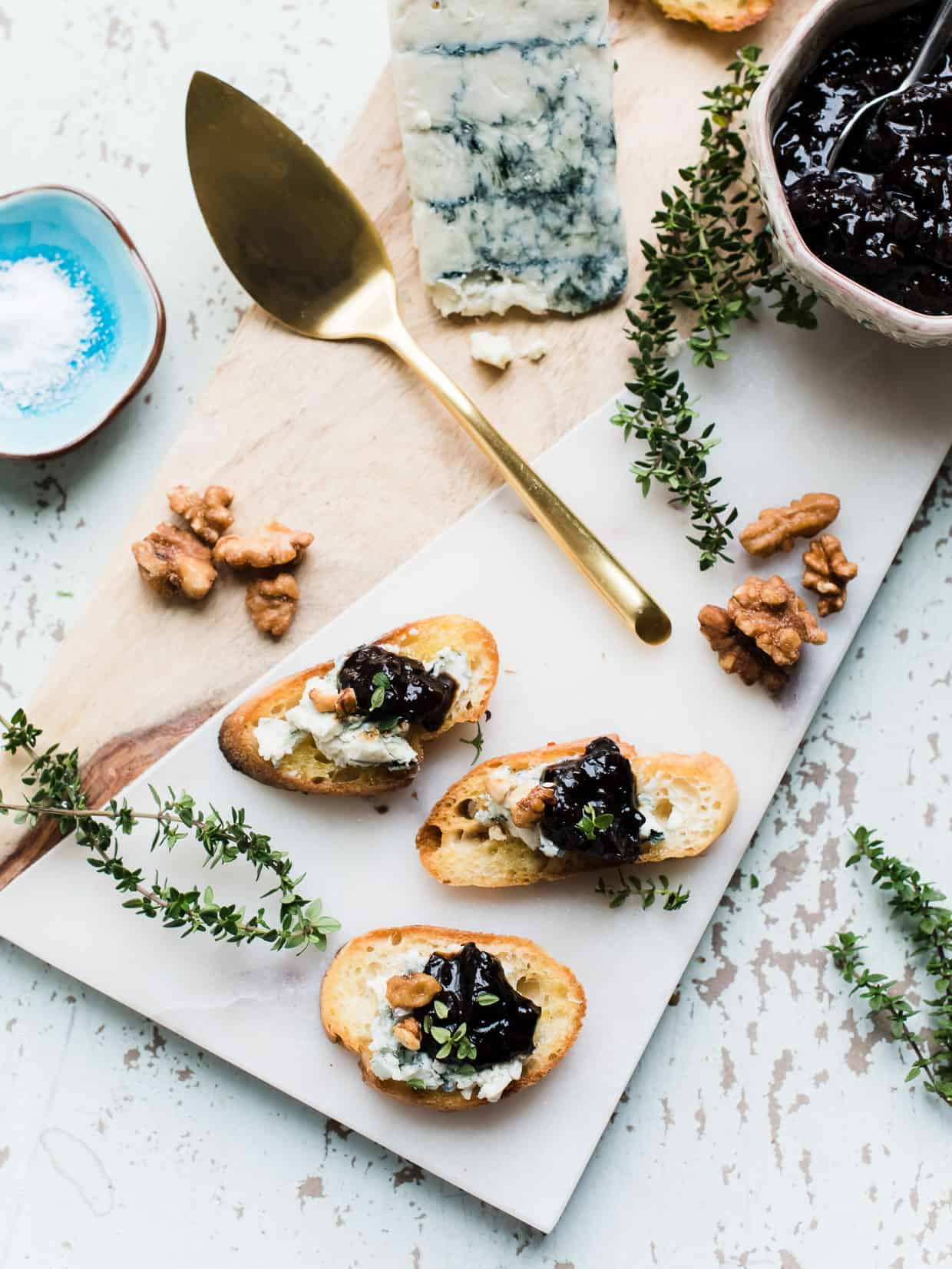Crostini with Gorgonzola and Prune Chutney are little bites with BIG flavor, thanks to prunes reduced in wine and balsamic vinegar. Such an easy appetizer!