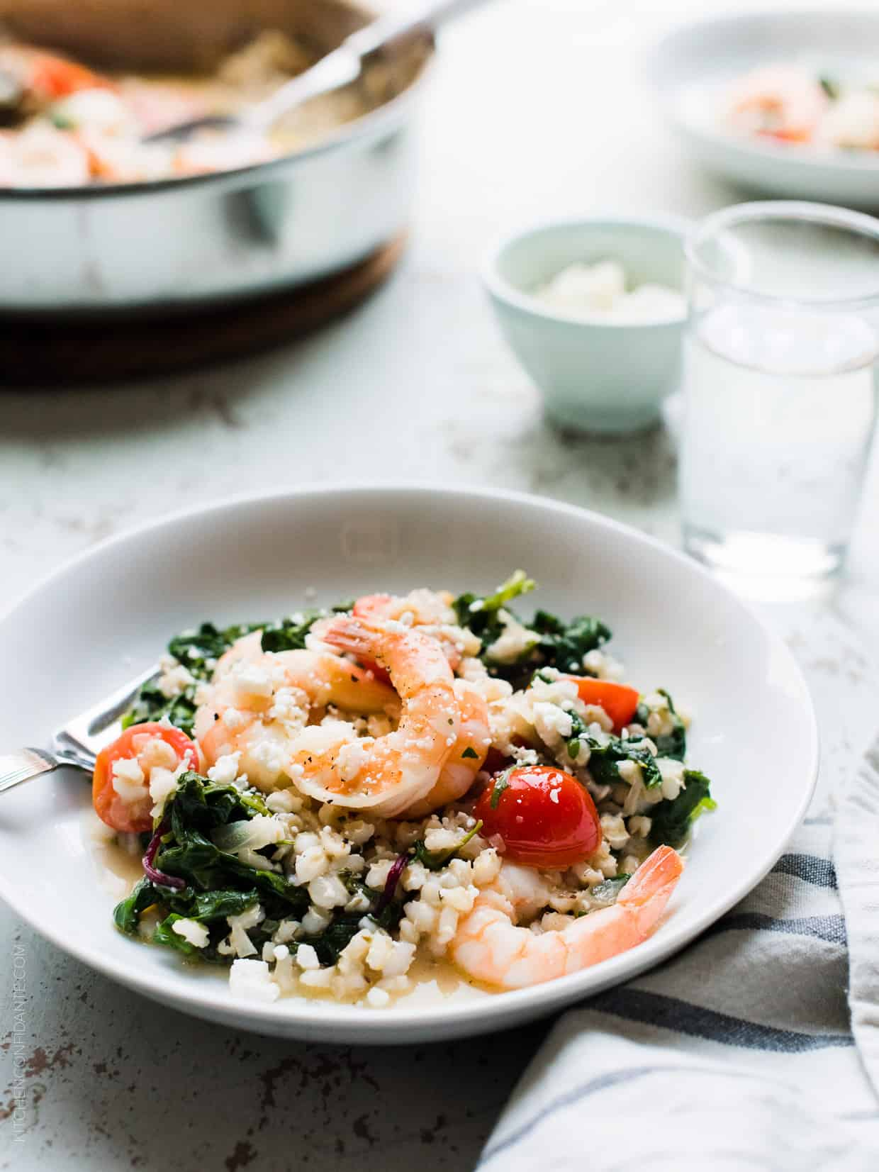 Simple, light, fresh, and made in one skillet. This delicious recipe for Greek Shrimp, Pearl Barley and Kale with Feta doesn't get any easier!