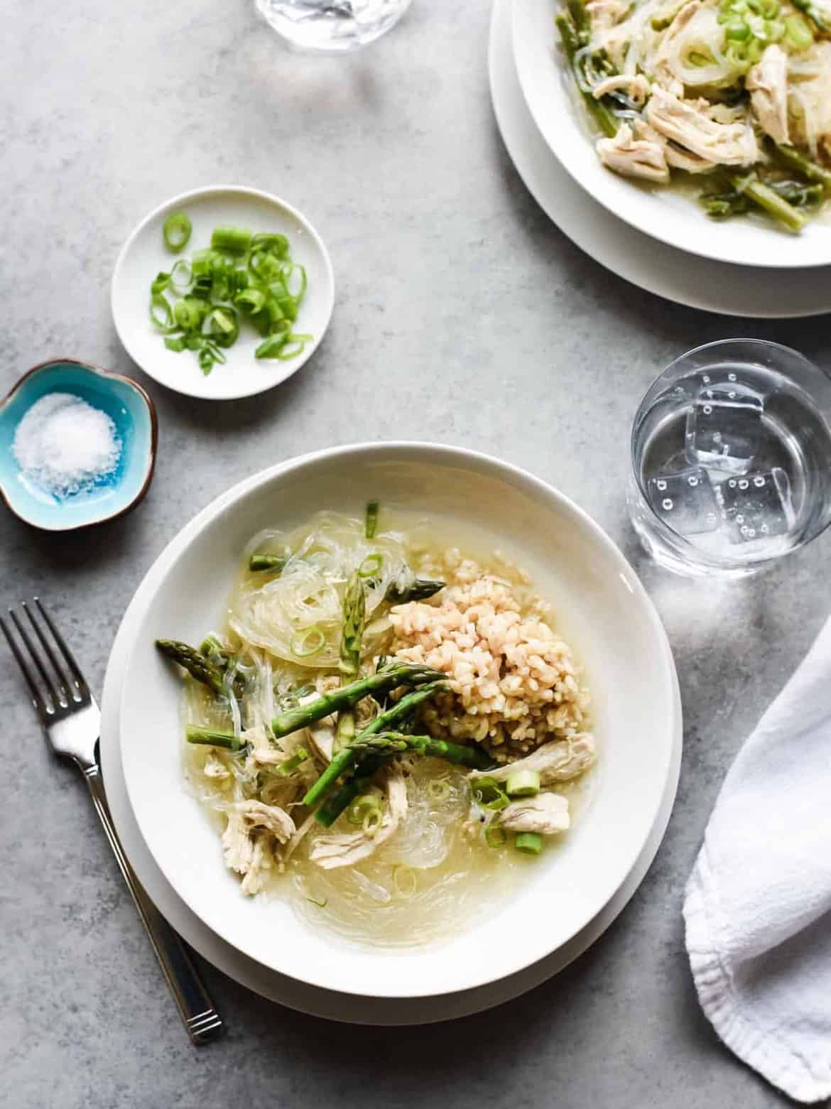 Chicken and Asparagus Sotanghon (Glass Noodle) Soup
