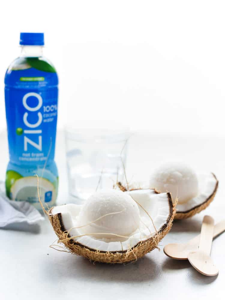 Grab a spoon and dig into a delicious coconut water sorbet made with @ZICOCoconut #ad