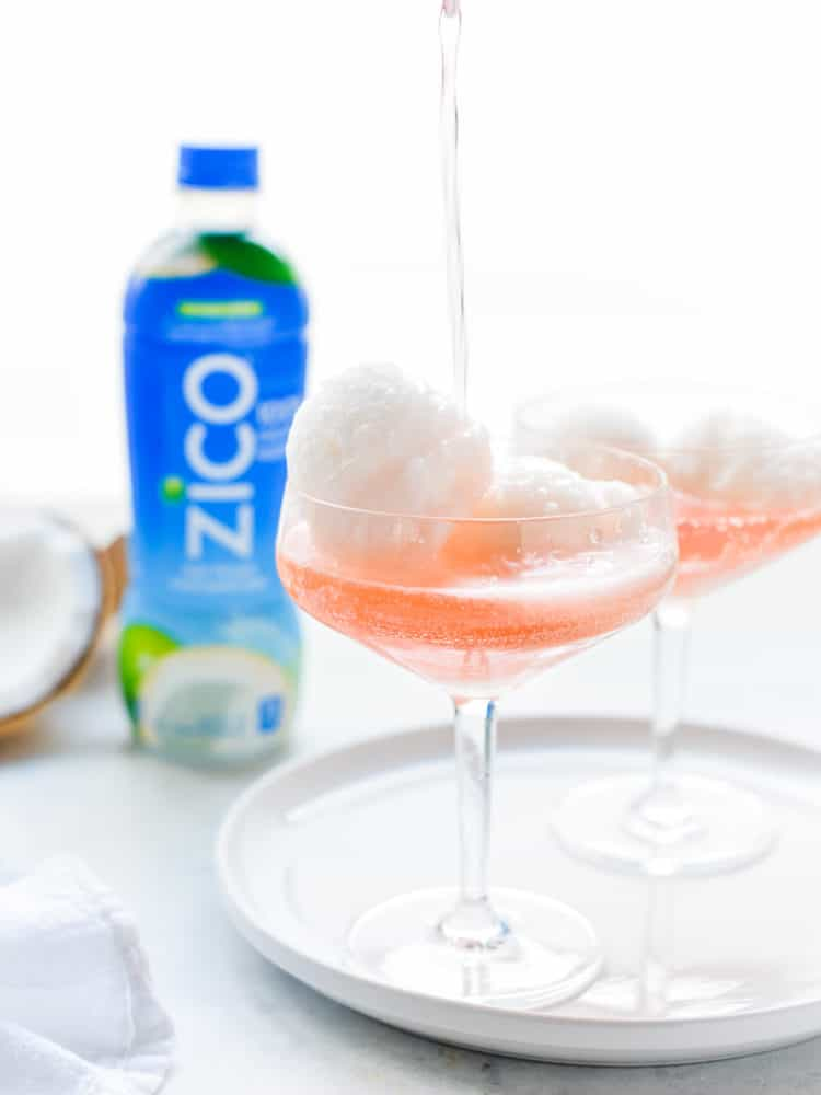 A coconut water sorbet gets festive in a sparkling cocktail! Made with @ZICOcoconut Natural 100% Coconut Water #InsideIsEverything #ad