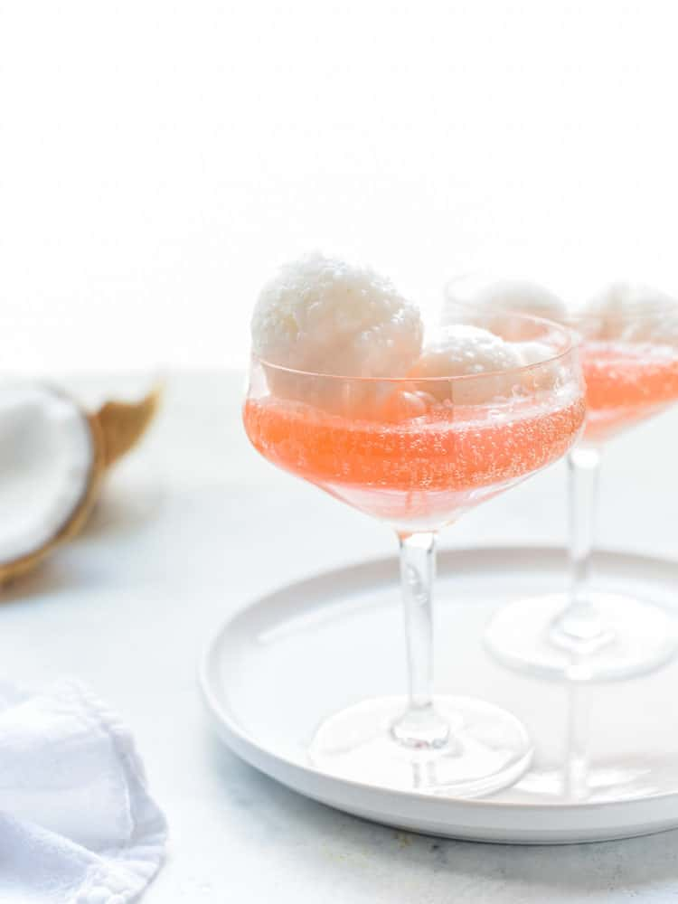 Coconut Water Sorbet Floats: A coconut water sorbet gets festive in a sparkling cocktail!