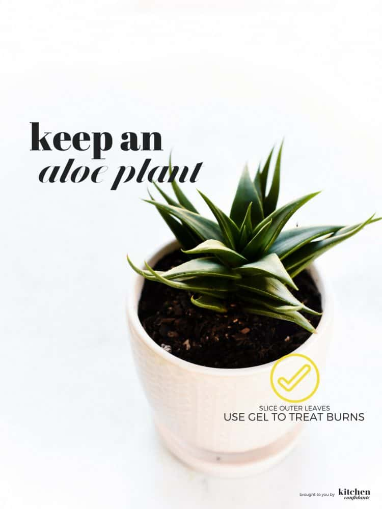 Burn yourself cooking? Learn how to soothe your kitchen burn with One Quick Tip by keeping aloe in the refrigerator!