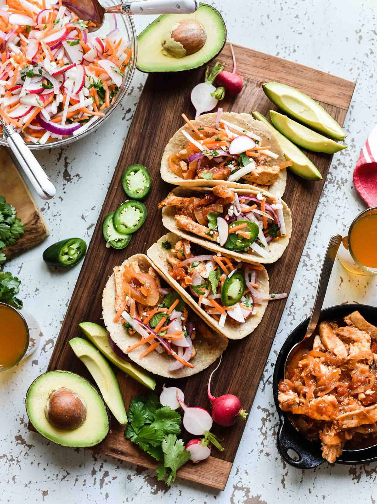 Chipotle Chicken Tacos with Jicama Slaw