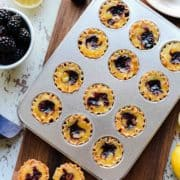 Lemon-Blackberry Chess Pie Bites are miniature versions of the classic Southern pie!