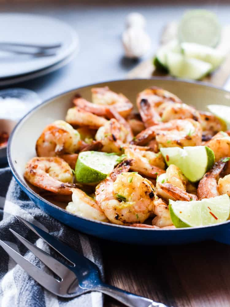 Skillet Shrimp with Lime and Green Curry Compound Butter is so easy and flavorful, you'll have dinner on the table in under ten minutes!