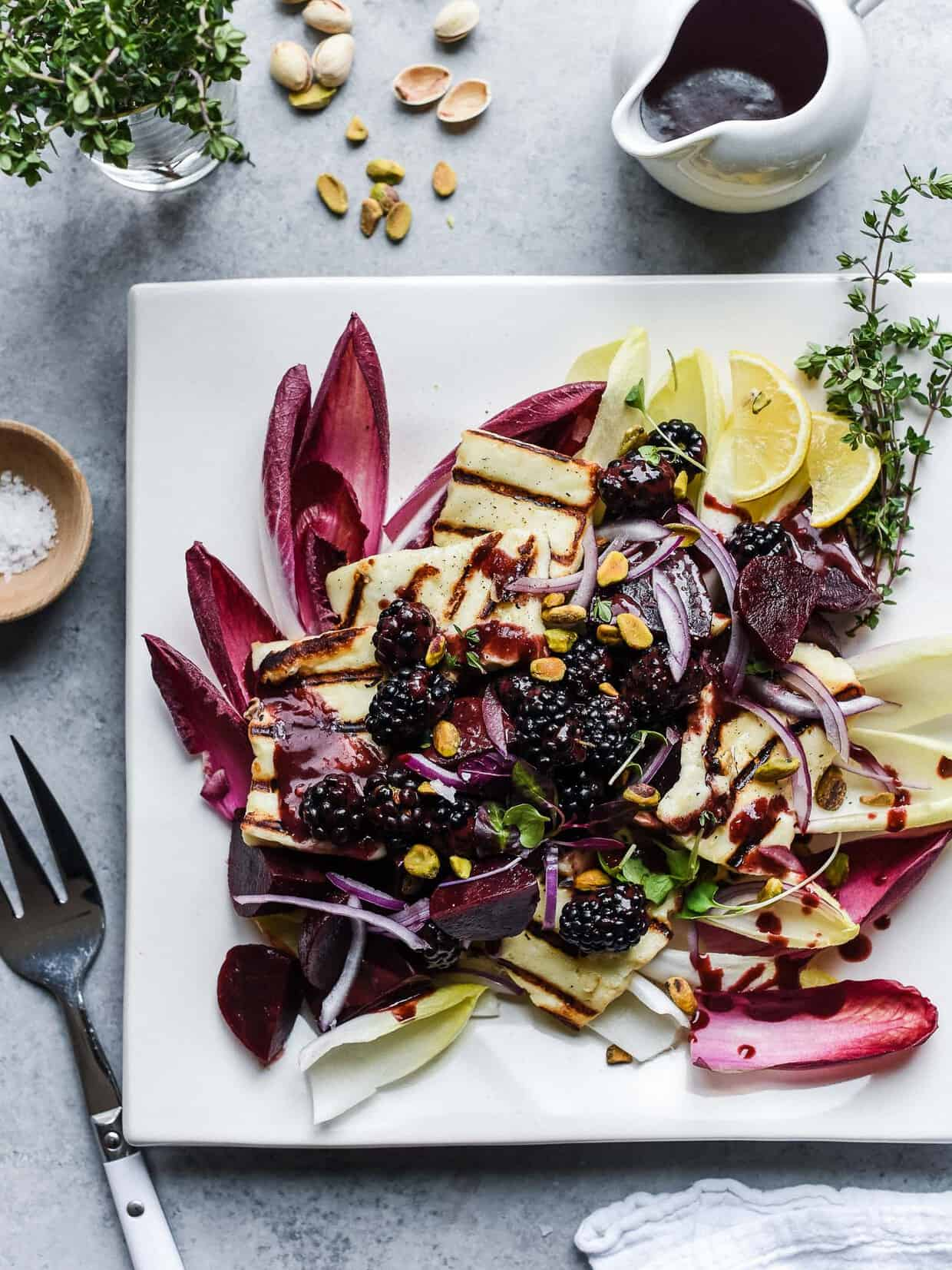 Halloumi Salad with Beets and Blackberries